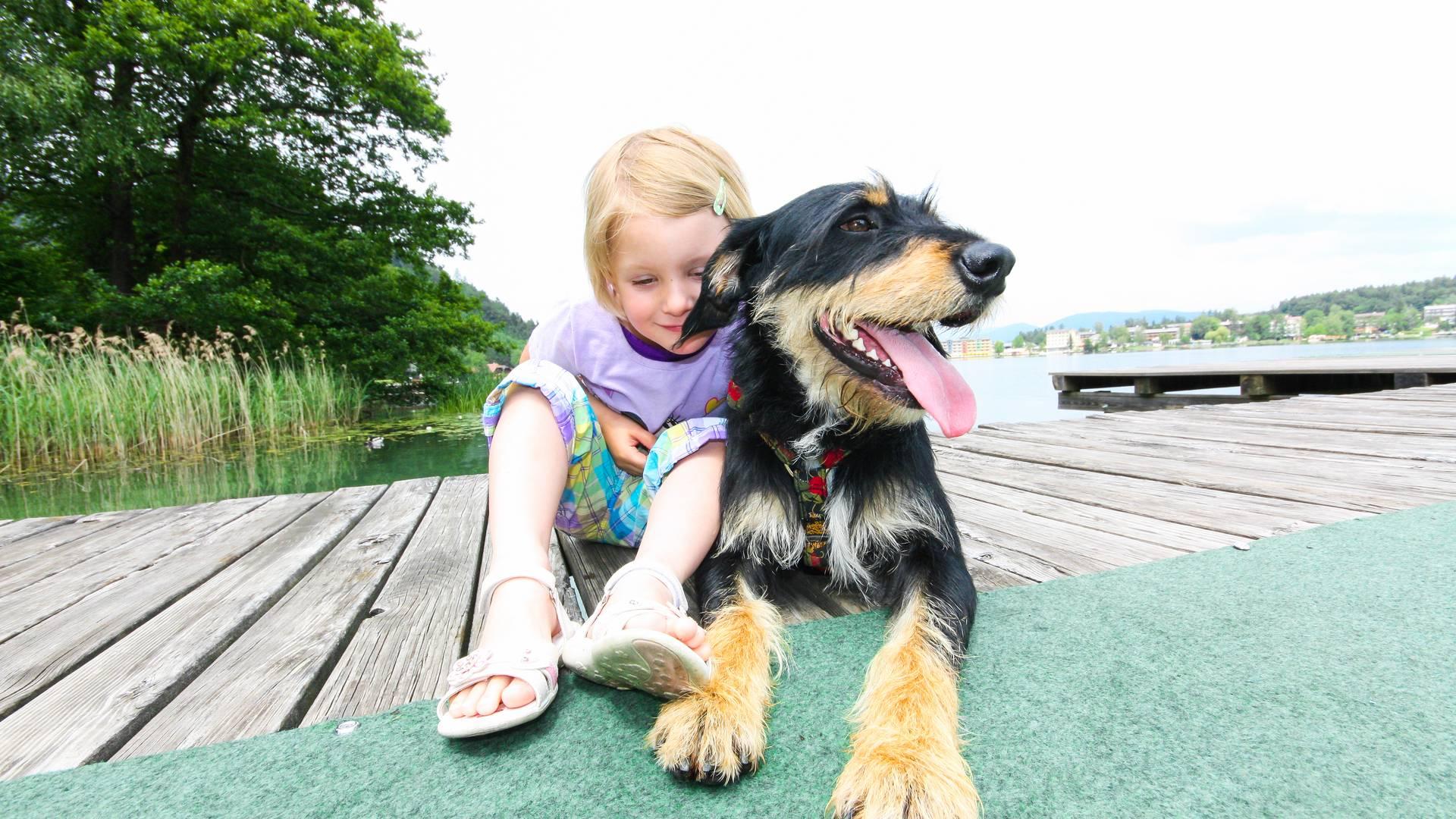 Beste Freunde – Mädchen mit Hund am Badesteg